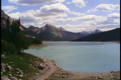 Jasper National Park, Alberta, Canada, Maligne Lake, snowcap mountain Stock Footage