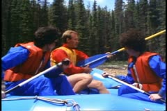 Jasper Park Lodge, Alberta, Canada, instruction for rafting, rafting guide Stock Footage