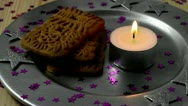 Stock Video Footage of biscuit with candle