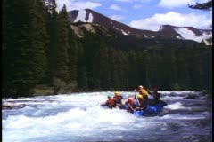 Jasper Park Lodge, Alberta, Canada,  white water rafting, big river rapids Stock Footage