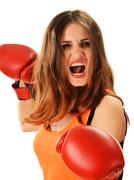 Muotokuva nuori nainen punainen nyrkkeilyhanskat. Kuvituskuvat