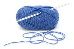 Blue Wool and Needles - stock photo