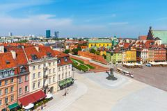 Aerial panorama of Warsaw, Poland - stock photo