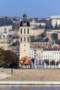 the rhone river in lyon - stock photo