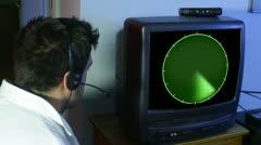 Watching radar Stock Footage