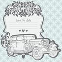 Wedding invitation card with retro car Stock Illustration