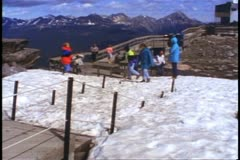 Jasper National Park, Alberta, Canada, snow atop mountain, people Stock Footage