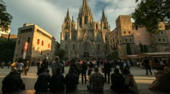 Cathedral of Holy Cross and Saint Eulalia view, Barcelona Stock Footage