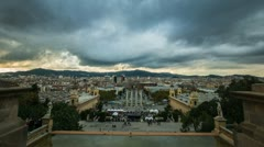 View of Plaza De Espana during day,  Barcelona, Spain Stock Footage
