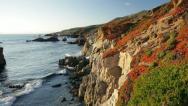 Stock Video Footage of Big Sur coast sunset glow (pan)