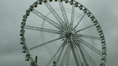 Paris Ferris Wheel Stormy Sky Stock Footage
