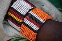 Original Handmade African Maasai Beaded Bracelet on Arm Stock Photos