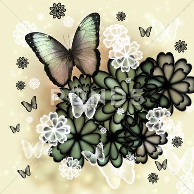 Stock Illustration of butterflies and blossoms illustration