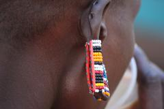 Beaded Earring of Masai Woman Stock Photos