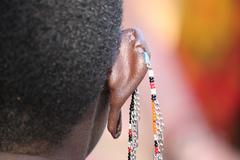 Masai Woman's Earrings Stock Photos