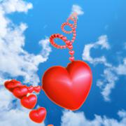 Red heart in the sky - stock illustration