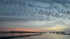 Sunrise at Naama Bay, Red Sea and motor yachts, Sharm el Sheikh, Egypt Stock Footage