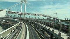 Elevated railway, transportation, Rainbow bridge, Tokyo, Japan Stock Footage
