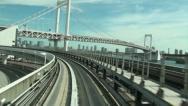 Elevated railway, transportation, Rainbow bridge, Tokyo, Japan Stock Footage