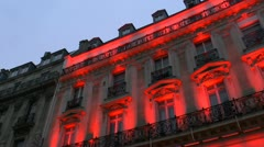 Old Building Architecture Lit With Color Stock Footage