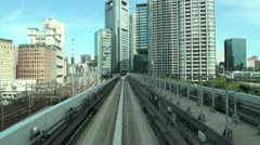 Tokyo monorail, train tracks, Japan travel, world city, commute, commuting Stock Footage
