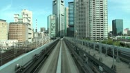 Stock Video Footage of Tokyo monorail, train tracks, Japan travel, world city, commute, commuting