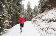 Stock Photo of winter trail running