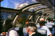 "Stock Video Footage of ""The Canadian"" train, observation dome car, people, Mt. Robson"