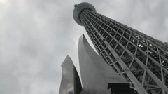 Tokyo Skytree, time lapse clouds, tourist attraction, travel Japan Stock Footage