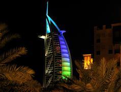Burj al Arab at night Stock Photos