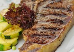 barbecue t bone steak close up - stock photo