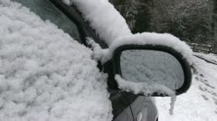 A snow covered car Stock Footage