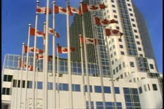 Vancouver, British Columbia, Canada Place, ocean liner terminal, flags Stock Footage