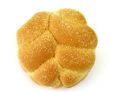 hamburger bun, top view - stock photo