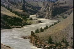 British Columbia, Canada, Fraser River Canyon, river winding below Stock Footage