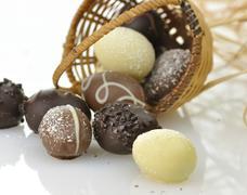 chocolate eggs - stock photo