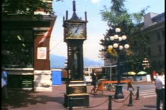 "Vancouver, British Columbia, Gastown ""Steam"" clock, top emitting steam Stock Footage"