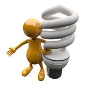 3D People with Energy Saving Lighting Bulb - stock illustration