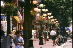 Vancouver, British Columbia, Gastown district, people, old street lamps Stock Footage