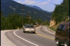 British Columbia, Canada, Trans Canada Highway, cars and trucks, 1990 Stock Footage