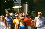 Vancouver, British Columbia,  crowd on sidewalk, crushed shot, 1990 Stock Footage