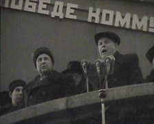 Newsreel, a chronicle of the USSR. Demonstration and parade. - stock footage