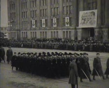 Stock Video Footage of Newsreel, a chronicle of the USSR. Demonstration and parade.