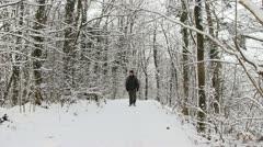 Walking along Wenlock Edge in snow, Shropshire, England Stock Footage