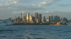 Large Cruise Liner arrives in Sydney, after sunrise (one minute long!) Stock Footage