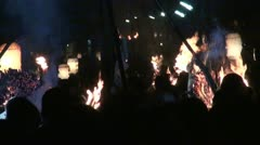 Flames and people at the famous Japanese Kurama festival near Kyoto Stock Footage