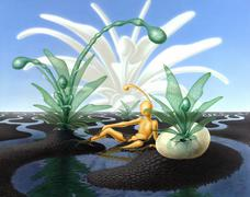 Surreal scenery with stream and translucent plants Stock Illustration