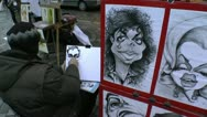 Stock Video Footage of Street Artist Caricatures