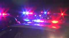 Police Cars With Flashing Lights Stock Footage