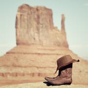Stock Photo of boots and hat in monument valley